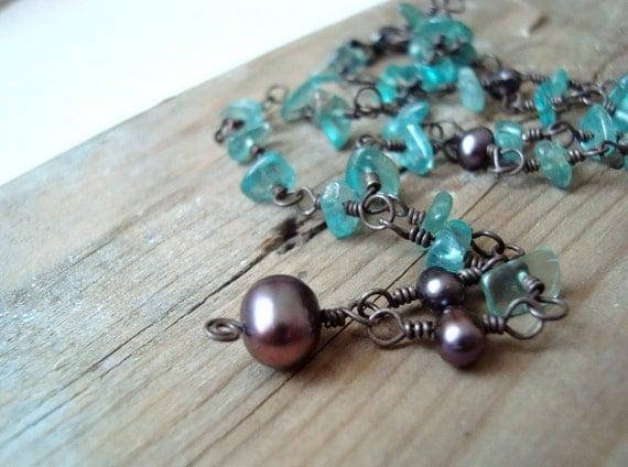 Necklace Aqua Apatite Purple Pearl Oxidized Sterling - Horizon