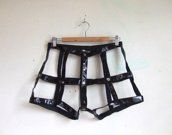 vintage vinyl leather black cage shorts