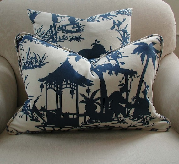 DESIGNER PILLOW COVER 14 X 20 inch Chinoiserie Navy Blue and Cream Decorative Throw Pillow Accent Pillow Designer Fabric Cotton Bridge  in an Asian landscape with Dancing Men