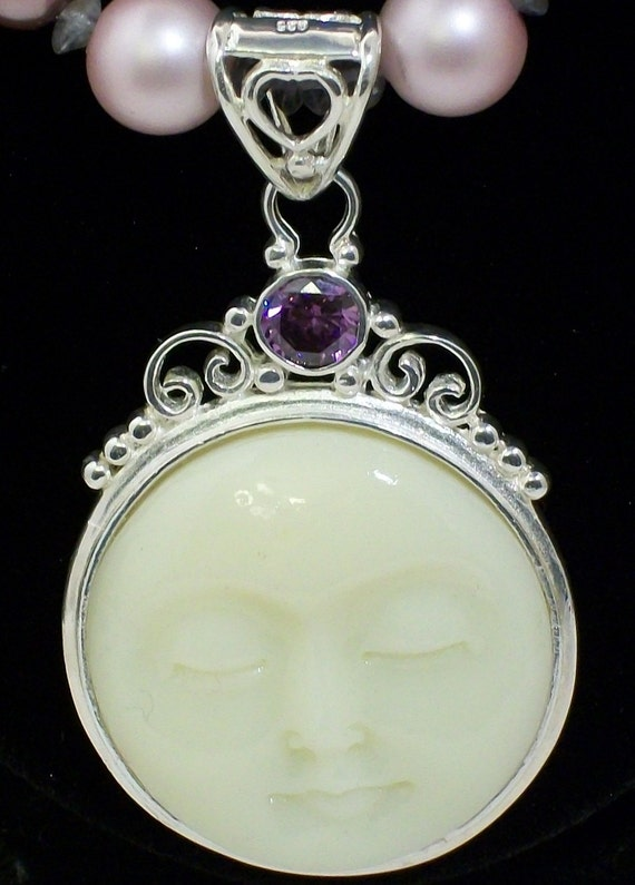 Amethyst Bali Moon Goddess Necklace