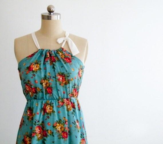 Spring flowers dress in blue