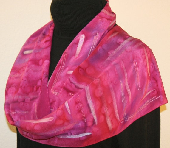 Pink Rules Hand Painted Silk Scarf - size 10x58