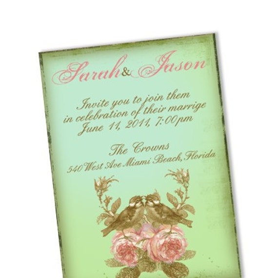 Vintage Love Birds Wedding Invitation V7 From pixelmade