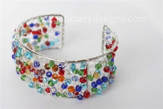 Knitted Cuff Bracelet in multi bright beads