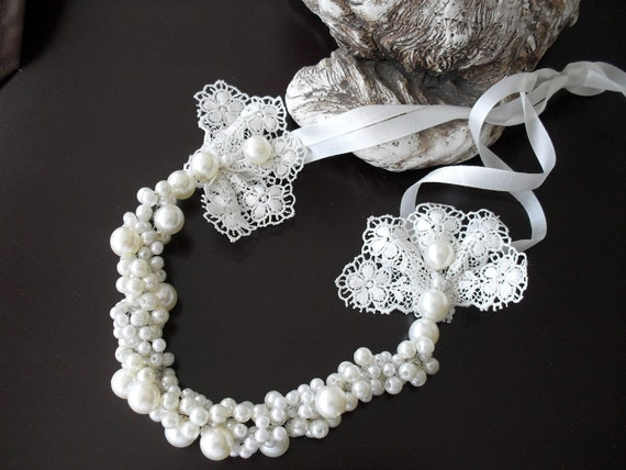 Handmade Weddings ecru Pearl Necklace Brides by divaoutlet on Etsy from etsy.com