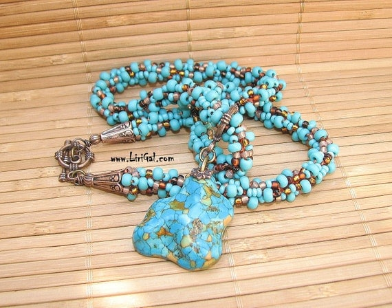 Turquoise  Pendant. Beaded Crocheted Necklace