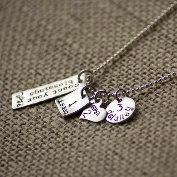 Sterling silver hand stamped COUNT YOUR BLESSINGS necklace for moms or grandmas