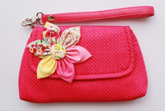 Pink Polka Dot Cotton Wristlet