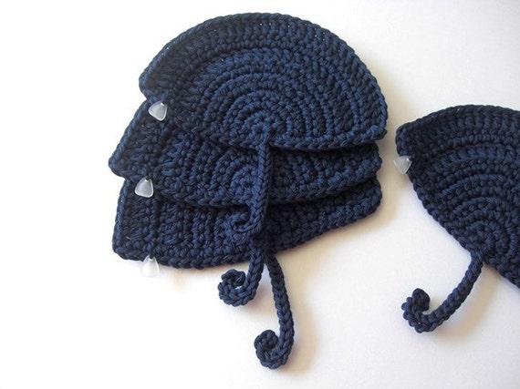 Navy Blue Umbrella Coasters . An Umbrella on your table, Ocean Sea Nautical Beverage Rain Decor Crochet Cute Collection - Set of 4