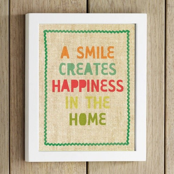 happy home colorful wall art print