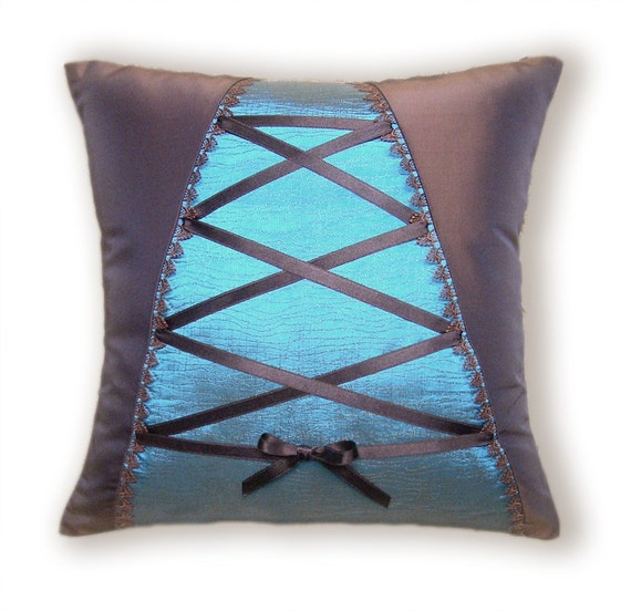 Decorative Throw Pillow Case 16 inch Cushion Cover in Chocolate and Turquoise COLETTE DESIGN