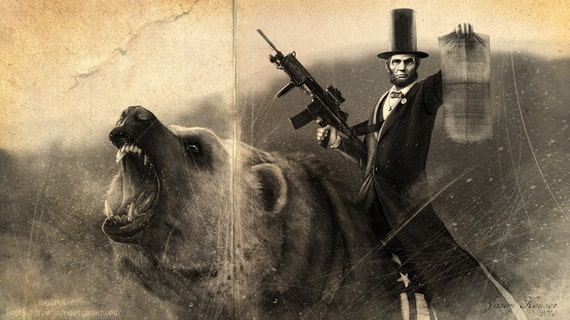 Abe Lincoln Riding a Grizzly Old Photo HQ Print