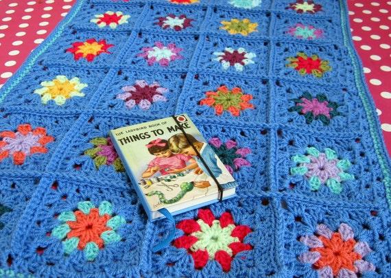 Madonna Blue Granny Square Blanket Afghan