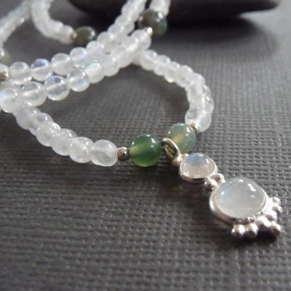 Moonlight Sonata Moonstone and Green Fancy Jasper Necklace