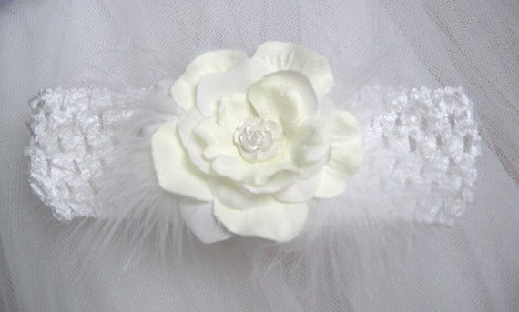 Christening Headband with Marabou