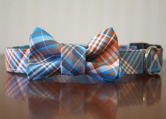 Bowtie Dog Collar (Bow Tie) - Creamsicle Tartan