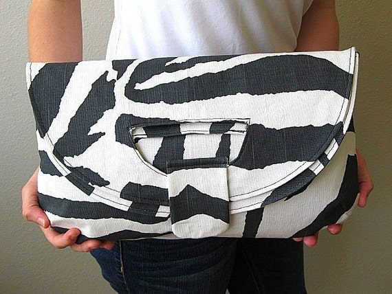 Zebra Print Foldover Clutch Tote by CMCreoleCreations on Etsy