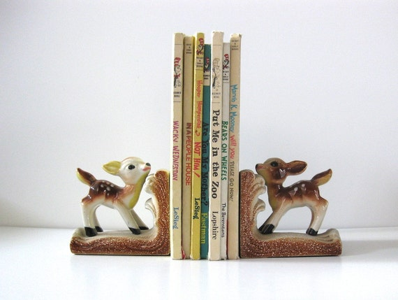 Vintage Ceramic Fawn Bookends, Japan