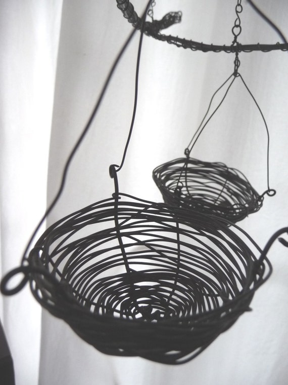 treasury item: birds' nest hanging candle cradle