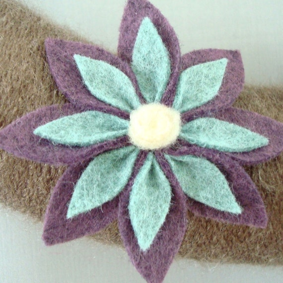 "Autumn wreath Yarn and Felt Flowers.  14 ""Wreath of autumn. Taupe, Amethyst Wreath Seafoam and yarn. Modern decor reduced by Heartfelt Wreaths yarn."