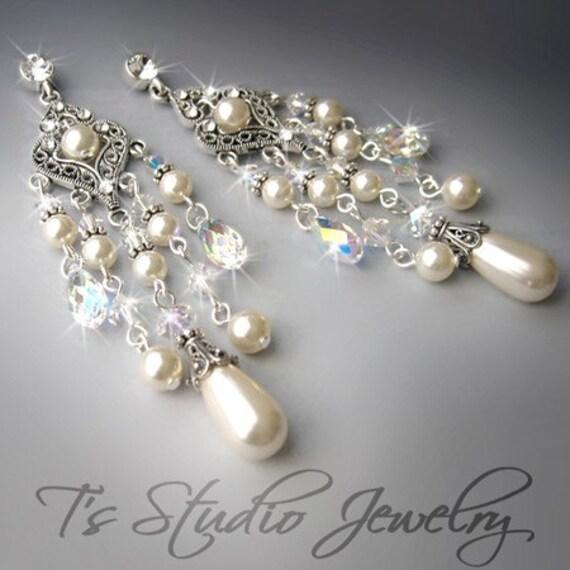 ELIZABETH - Romantic Crystal and Pearl Bridal Earrings