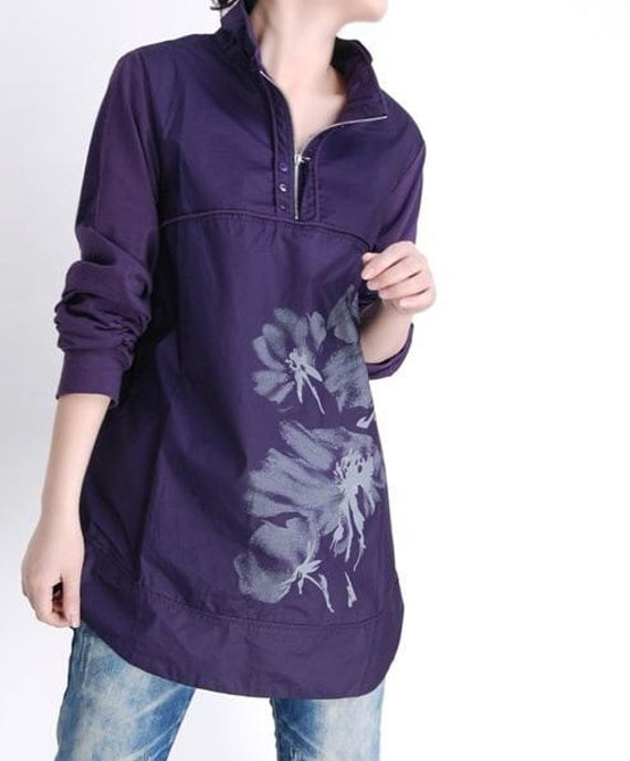 Printed casual purple Coat by gysde on Etsy from etsy.com