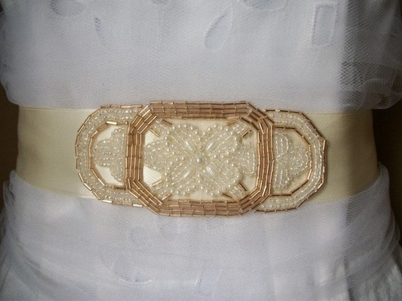 Beautiful Vintage Inspired Ivory  and Champagne Beaded Bridal Sash