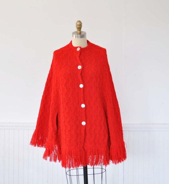 Vintage 60s CARDINAL Red Sweater Knit Cape by MariesVintage