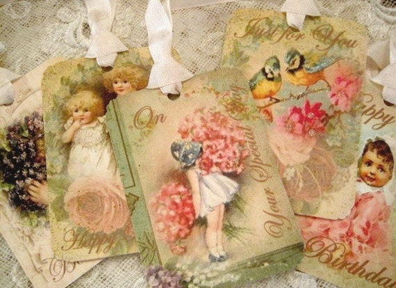 SET OF 6 - Vintage Greeting Cards - Happy Birthday - Gift Tags - Birds - Vintage Children - Puppy - Floral - Shabby - Buy Three Get One Free