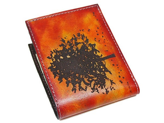 Slim Bi-Fold Leather Wallet - Autumn Tree