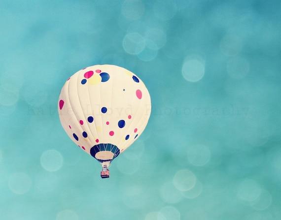 Solo Hot Air Balloon - 11x14 Fine Art Photography Print - Polkadot Balloon Soaring through a Bokeh Filled Teal Sky - Unisex Home Decor Photo