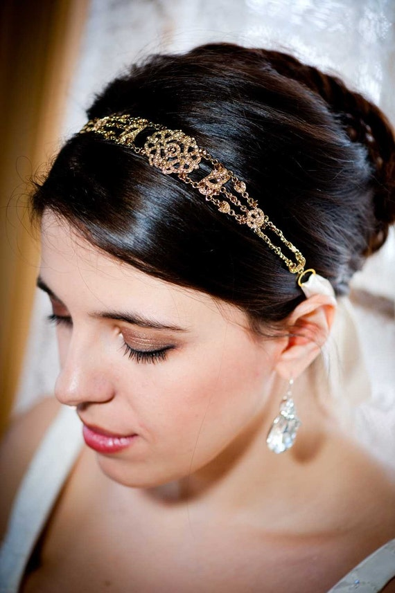 Michelle - Petite Vintage style Jeweled Ribbon Headband