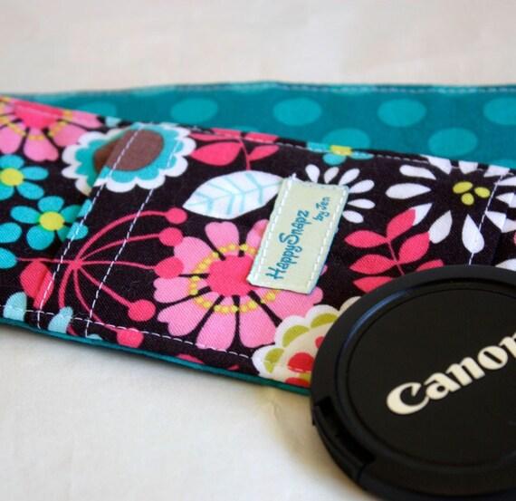 Camera Strap Cover Padding and Lens Cap Pocket - Lazy Daisy and Ta Dot