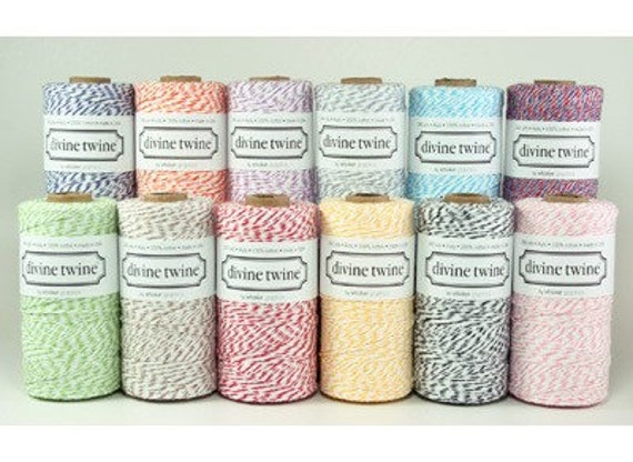 Divine Twine Sample Pack-5 yards of all 12 colors-Bakers Twine Lot-Baker Twine Color Sample Pack