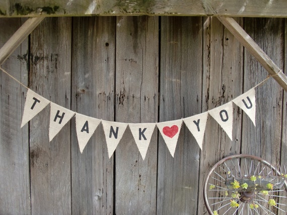 Thank You Burlap Bunting with Red Heart