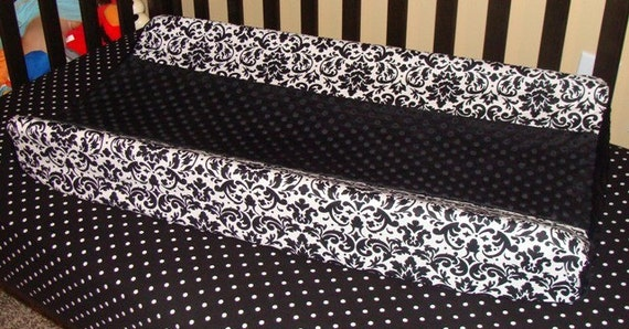 Black and White Damask and Black Minky Dot Contoured Changing Pad Cover