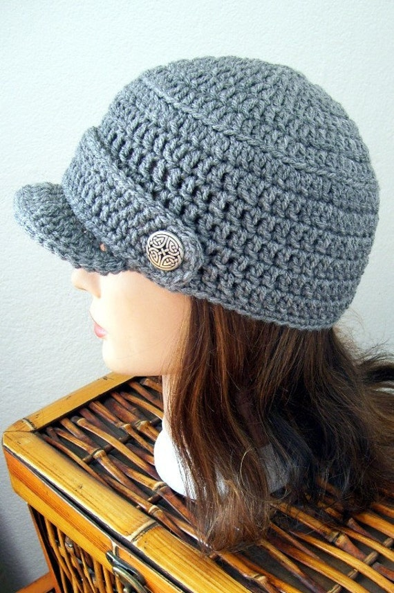 Newsboy Hat Crocheted Grey with Celtic Buttons UNISEX
