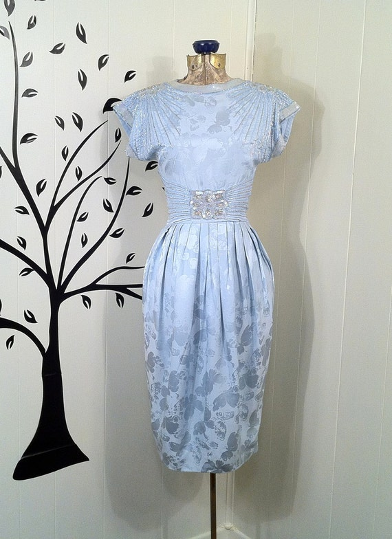 Retro 80s Silk Cocktail Dress - Beading and Sequins - Sexy Wiggle - Light Blue - Subtle Floral Pattern - Open Back - Stunning