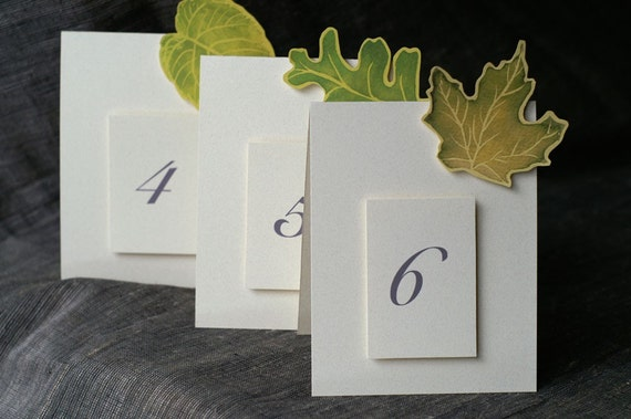 Green Leaves Table Numbers - Events - Weddings - Holidays - Celebrations - Seating