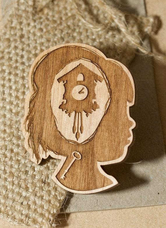 Tick Tock Cuckoo Clock Wooden Brooch