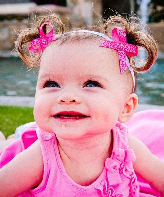 Limited Edition- Pink on Pink Leopard Baby Ponytail Pigtails Headbands - Bebe Doos Perfect Ponies- Baby Dos - PATENT PENDING