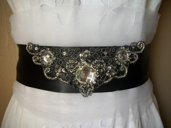 Dazzling Black Crystal Bridal Sash