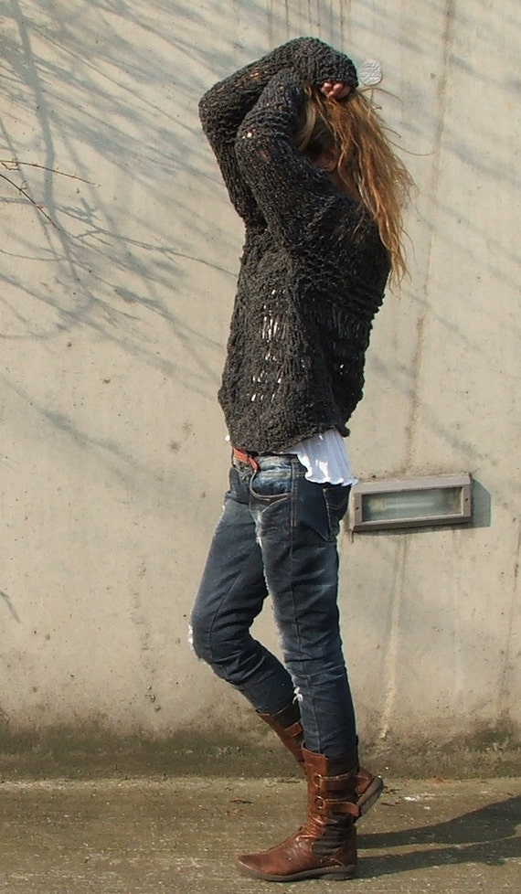Charcoal grey oversized grunge sweater