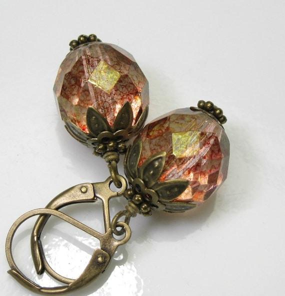 Rose Topaz Czech Glass Vintage Style Earrings