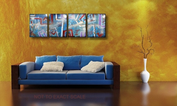 Custom Painting Order for Luis - 4 Canvas of Urban Abstract Art