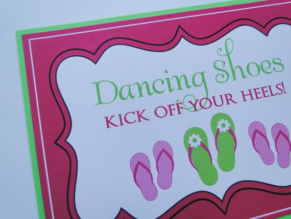 Custom Flip Flop Basket Sign for Wedding Reception