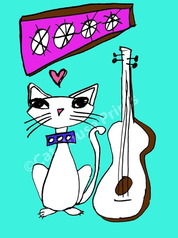 Blue Guitar Cat - 8.5 x 11 print