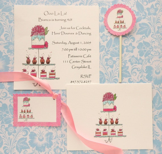 Sweet Tiers- Cake, Truffles and Cupcakes Invitations, Cards, Cupcake Flags and Gift Tags