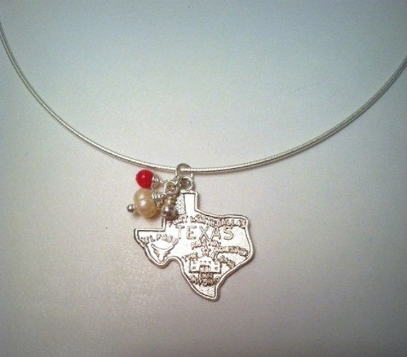 Deep in the Heart of Texas - Coral, Pearl, and Sterling Texas Necklace