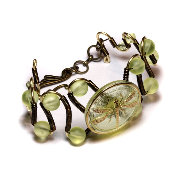 Steampunk Bracelet -  Vintage Czech Uranium Glass with Art Deco DRAGONFLY Button